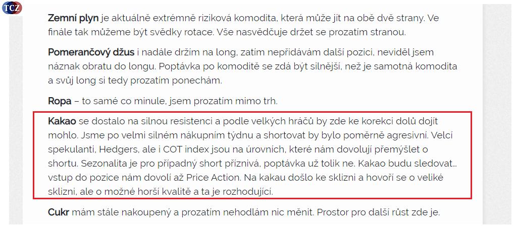 Analýza kakaa tradecz