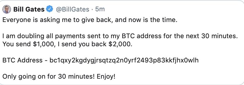 Bill Gates na twitteru bitcoin