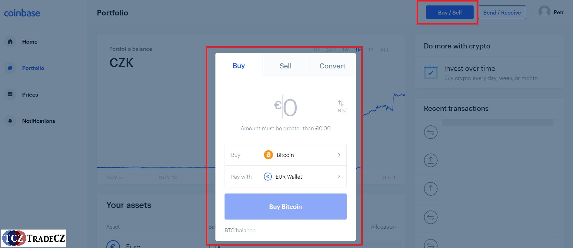 CoinBase nákup kryptoměny