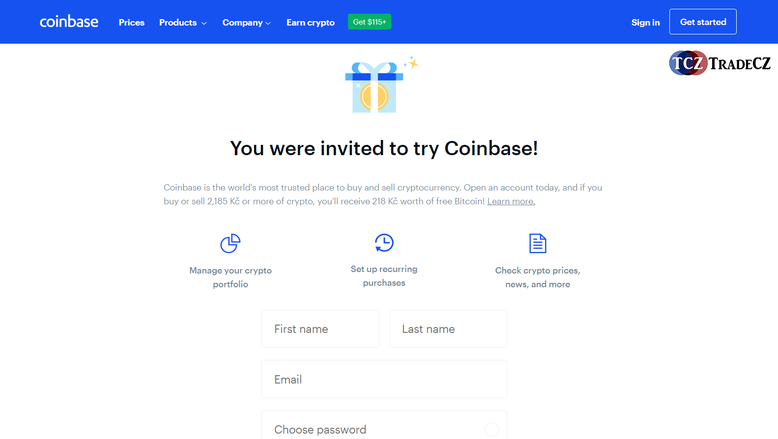 Registrace na CoinBase