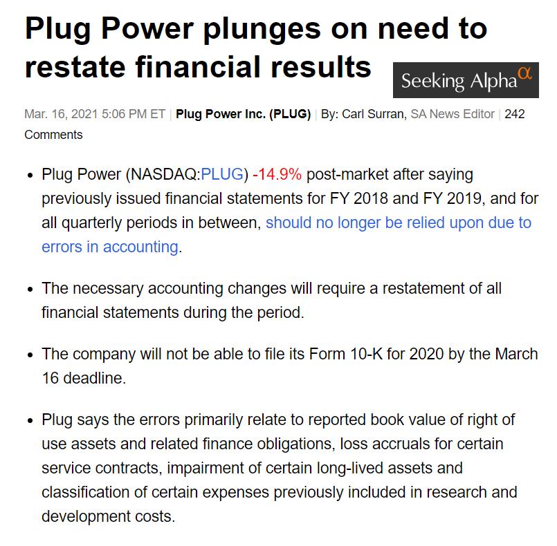účetní výkazy Plug Power