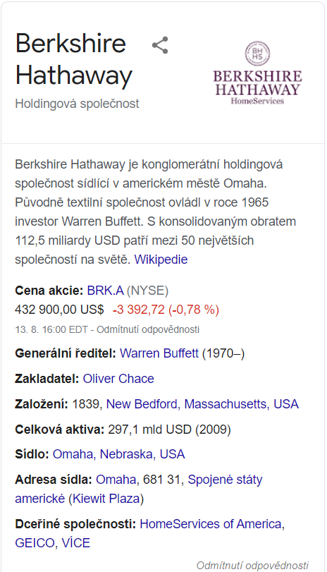 analýza Berkshire Hathaway