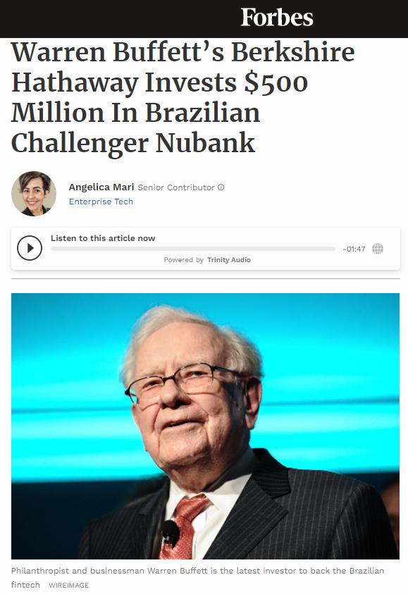 Buffett investice Nubank Bitcoin